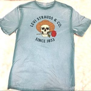 Levi Strauss & Co skeleton in a straw hat rose tee